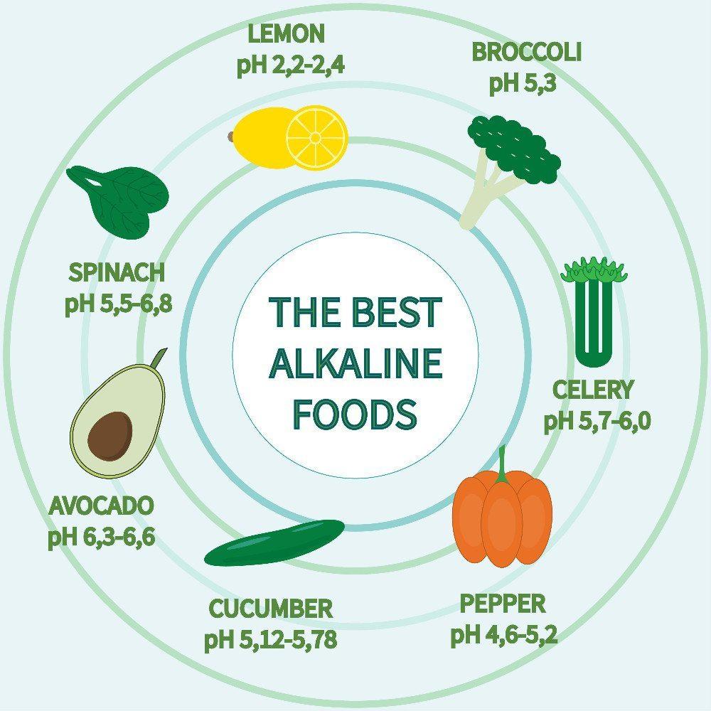 Die besten alkalischen Lebensmittel: Pfeffer, Sellerie, Broccoli, Zitrone, Spinat, Avocado, Gurke. (Bild: © annakristal - shutterstock.com)