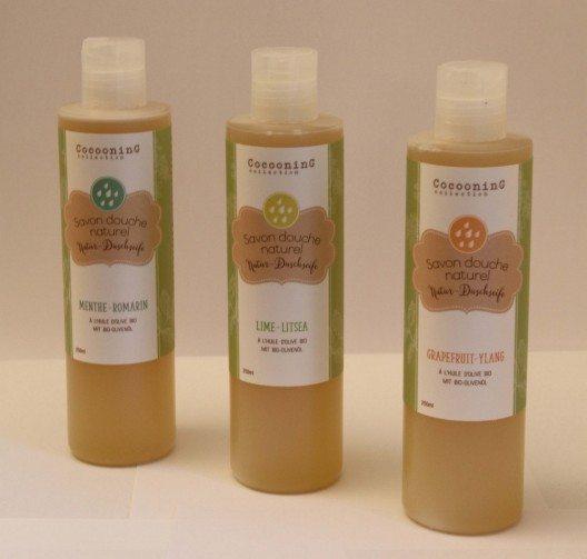 Flüssige Natur-Duschseifen in drei verschiedenen Aromen.