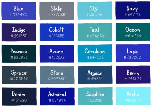 Die zeitlose modefarbe blau im fokus for Dark blue color chart