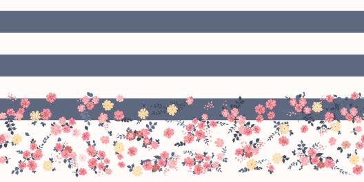 Streifen- und Blumenmuster kombiniert (Bild: © Eva Marina - shutterstock.com)