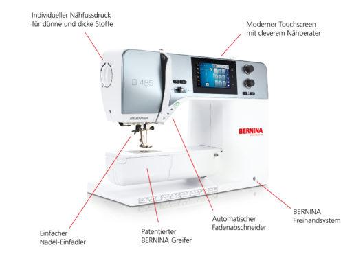 Neue BERNINA 485 mit neuen Funktionen (Bild: BERNINA International)