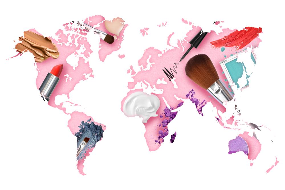 Karte des Weltmarkts der Kosmetikindustrie präsentiert die Verbrauchertrends auf dem Hintergrund des Beauty-Konzepts